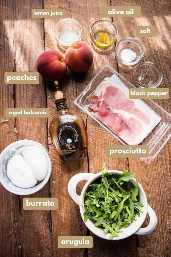 labeled ingredients for peach burrata salad