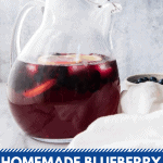 pitcher of blueberry lemonade
