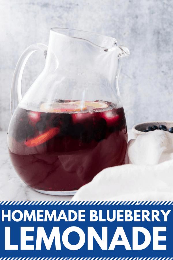 pitcher of blueberry lemonade