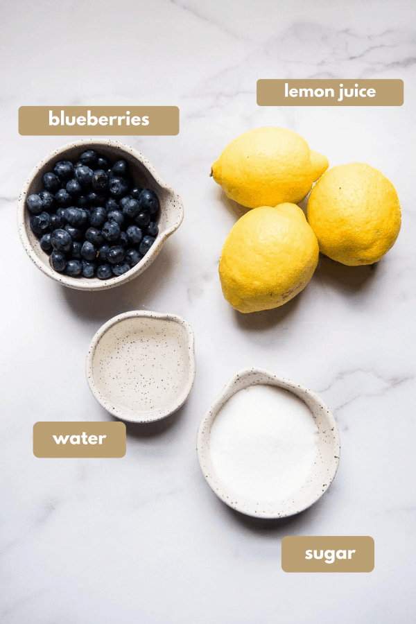 ingredients for blueberry lemonade