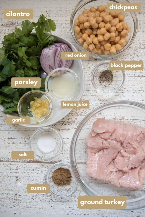 ingredients to make falafel turkey burgers