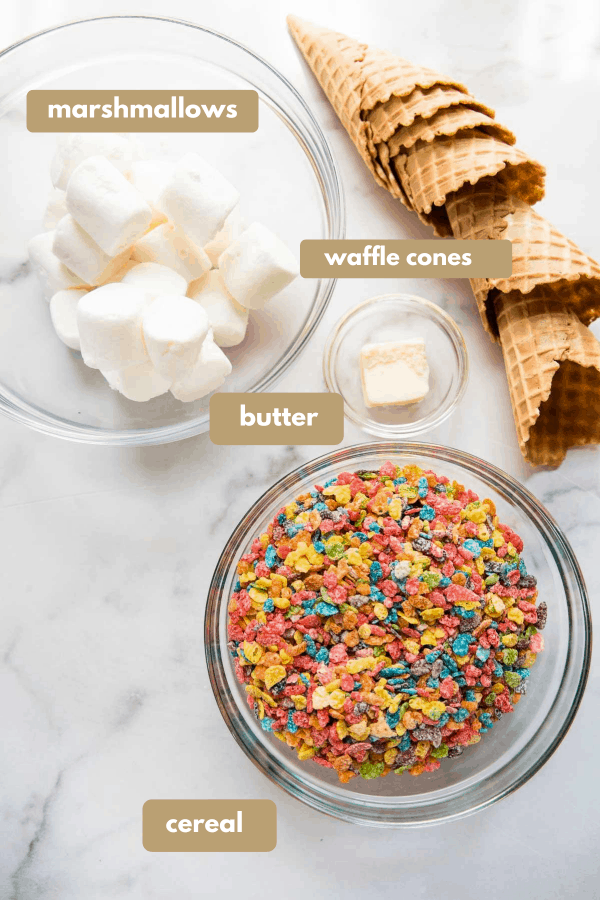 labeled ingredients for decorated waffle cones