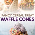 collage of cereal treat covered waffle cones