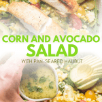 collage of corn and avocado salad photos