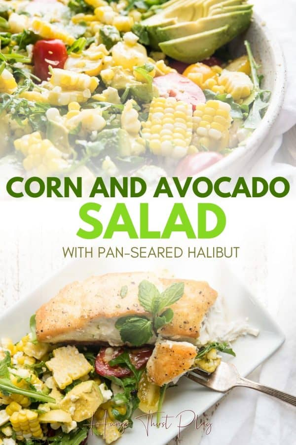 collage of corn and avocado salad photos