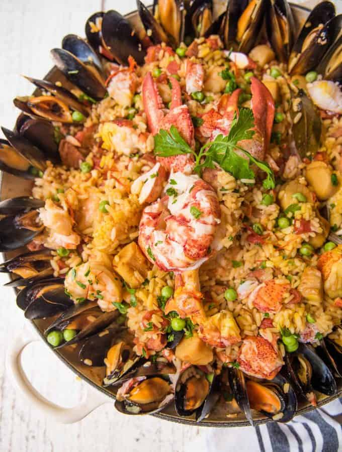 overhead of braiser pan with seafood paella