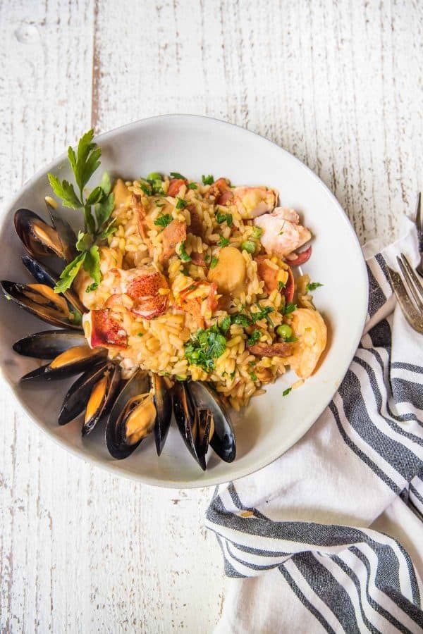 seafood paella in a bowl