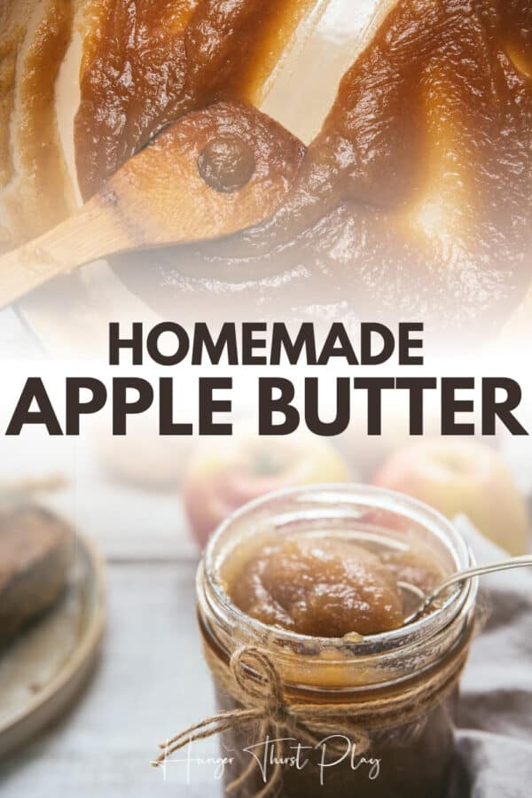 collage of homemade apple butter photos