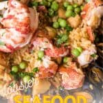 close up of braiser pan with seafood paella