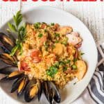 rice, lobster and mussels in a bowl