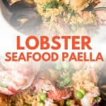 collage of seafood paella