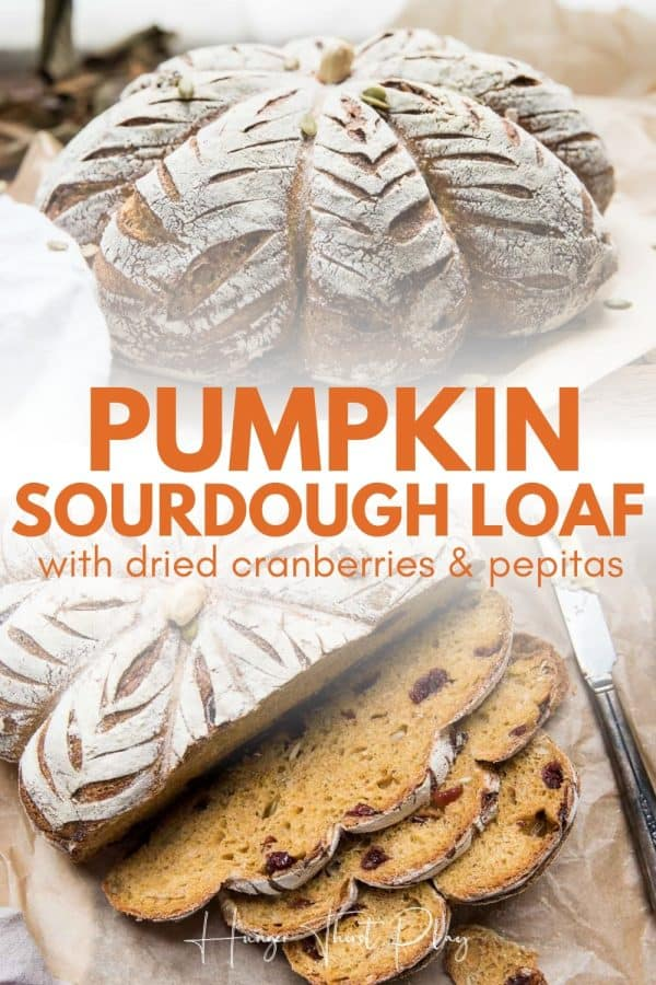 collage of sourdough pumpkin shaped loaf