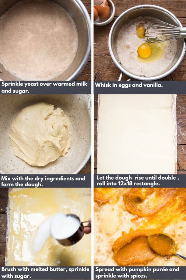 collage of process shots to making pumpkin mascarpone cinnamon rolls