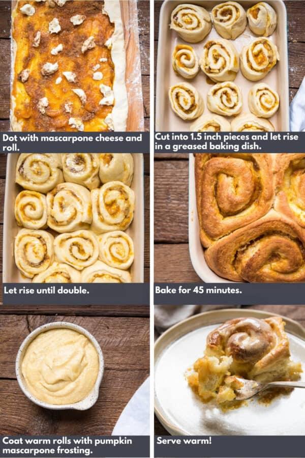 collage of process shots to making pumpkin mascarpone cinnamon rolls