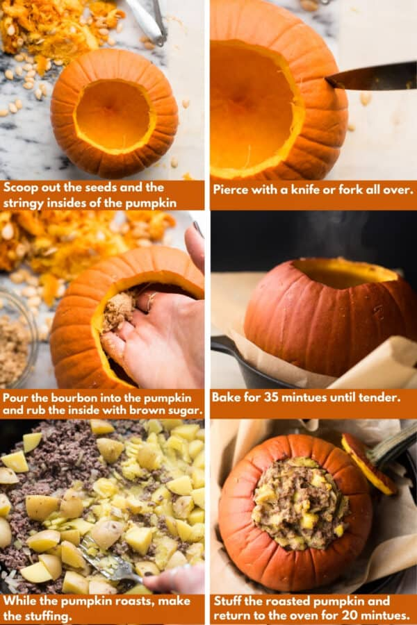process shots for roasting and stuffing a pumpkin