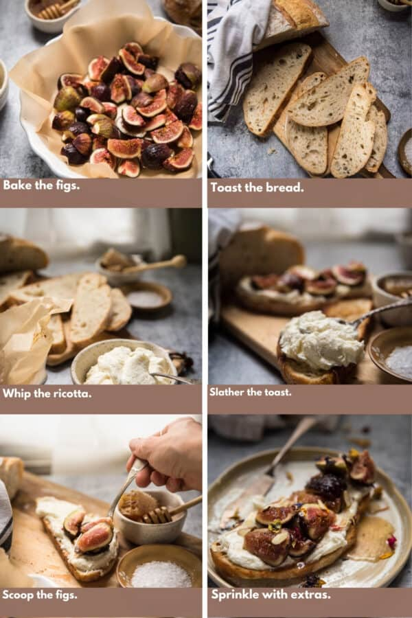 process shots for how to make whipped ricotta toast