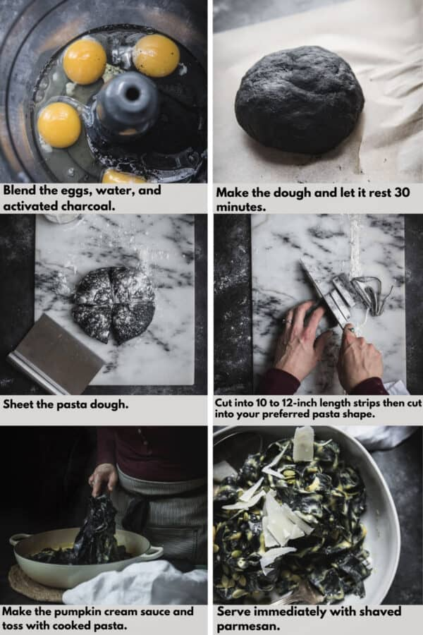 collage of process shots to make charcoal dyed pasta