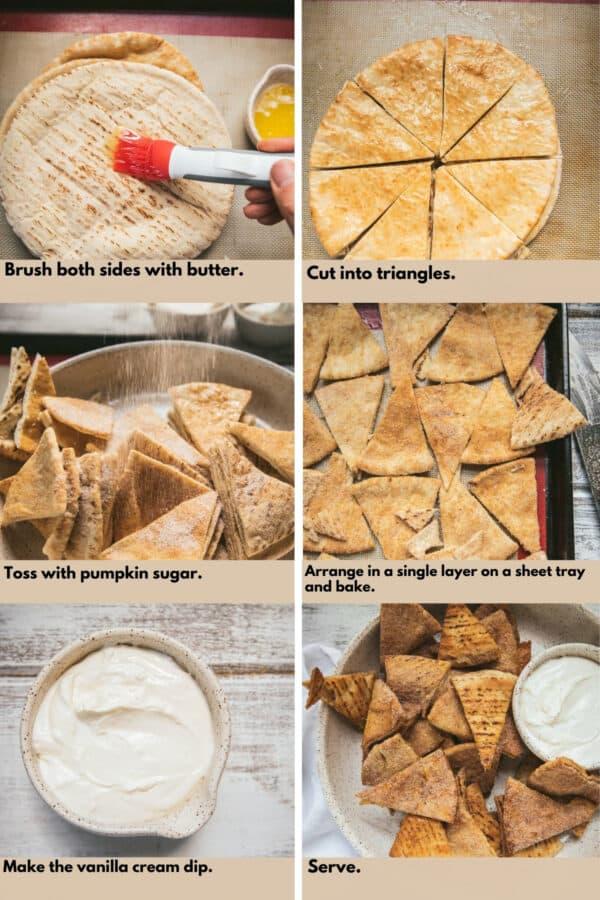 step by step process shots of making pumpkin spice pita chips