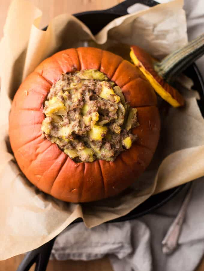 overhead photo of beef and potato stuffed pumpkin