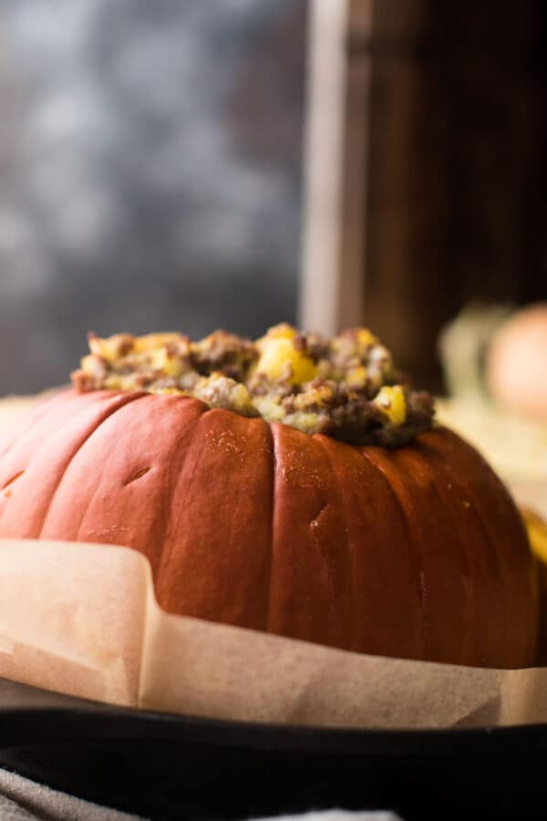 close up of stuffed pumpkin