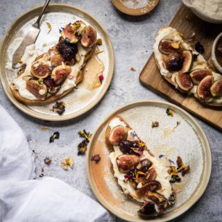 overhead of toast with figs on plates
