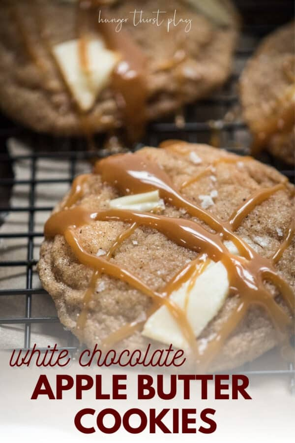 caramel drizzled over cookies