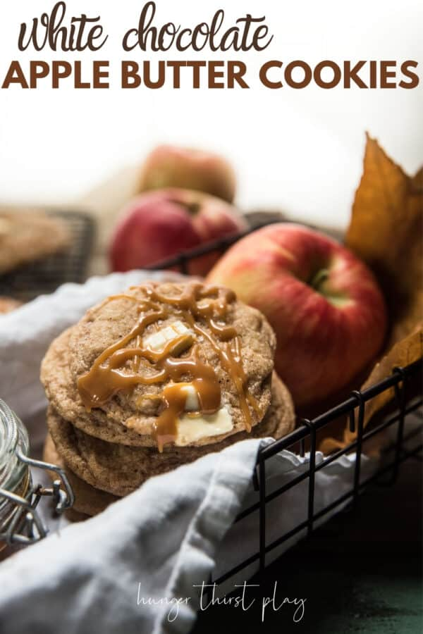 stacked cookies with an apple