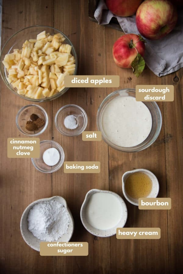 labeled ingredients for apple fritters