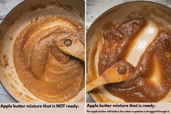 two photos of apple butter when it's not ready and when it is done cooking
