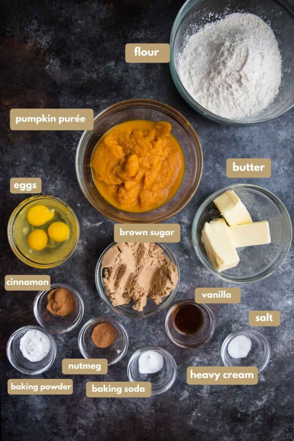 labeled ingredients for pumpkin bundt cake