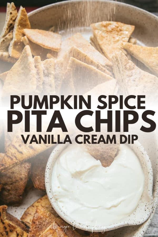 collage of pumpkin spice pita chips photos