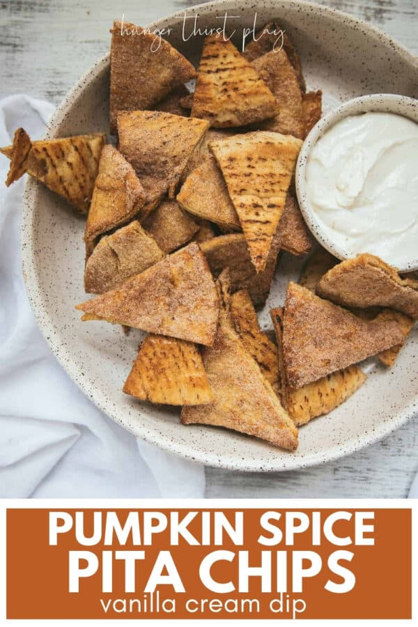 baked pita chips in a serving bowl with vanilla cream dip