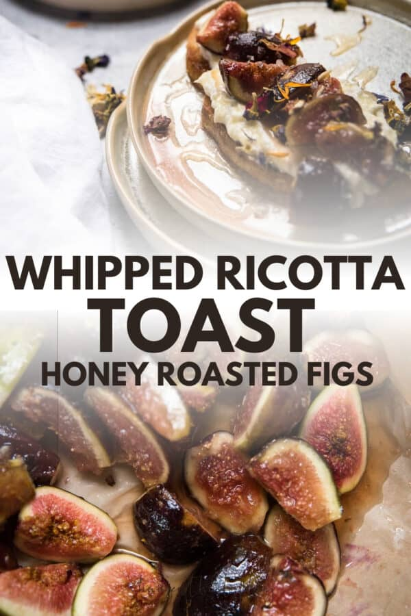 collage of whipped ricotta on toast with roasted figs