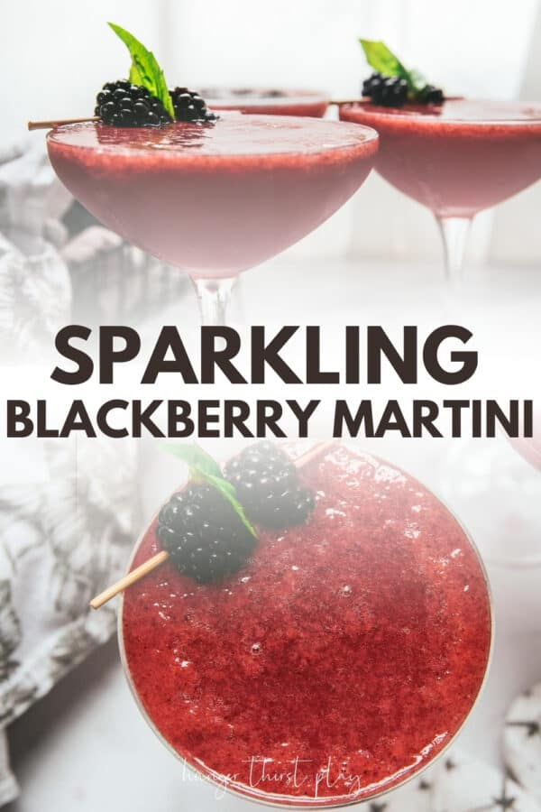 collage of blackberry martini photos