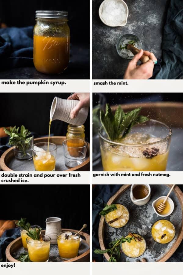 collage of steps to make honey pumpkin whiskey smash cocktails