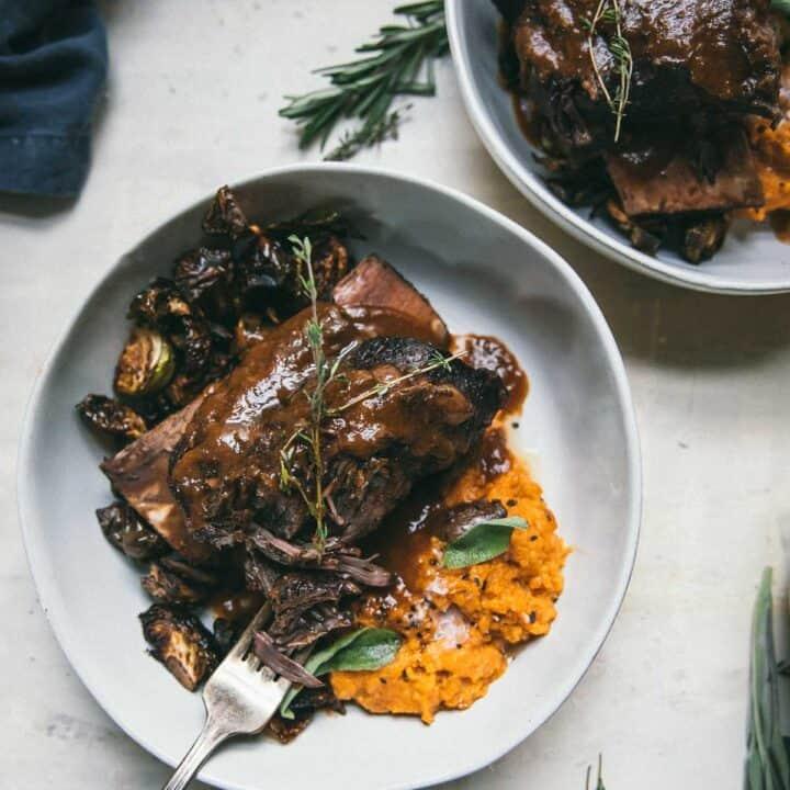 overhead of short rib over mashed sweet potatoes
