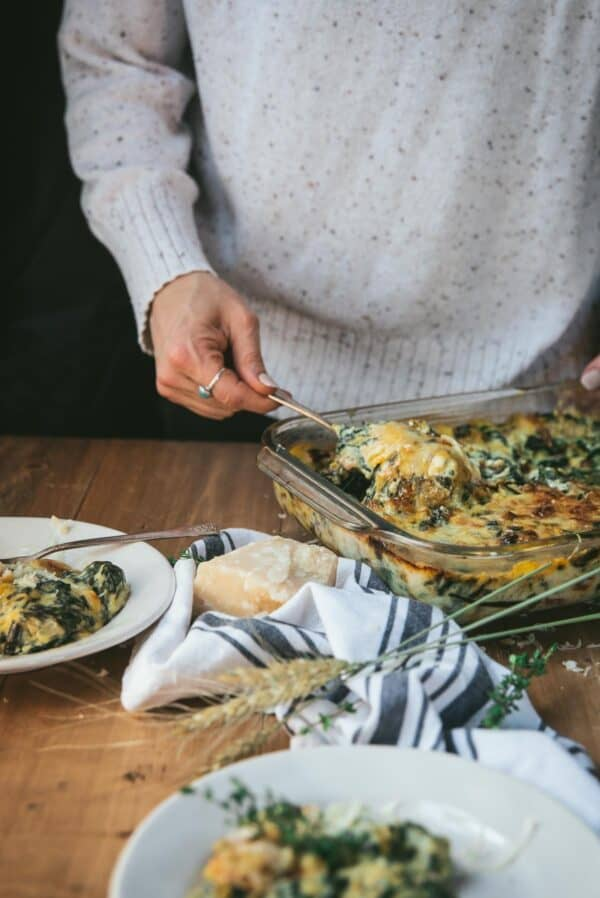 serving up chard gratin on side plates