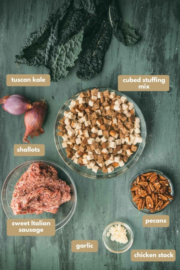 labeled ingredients for sausage and kale stuffing
