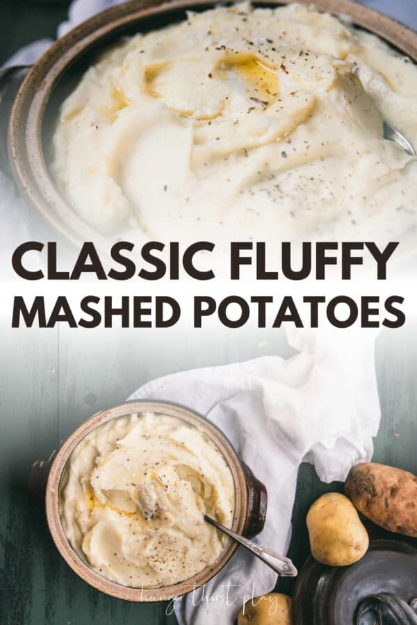 collage of photos of mashed potatoes