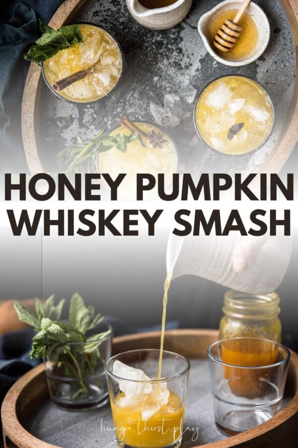 collage of whiskey smash cocktail photos