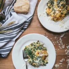 chard gratin on small plates with blue and white napkin