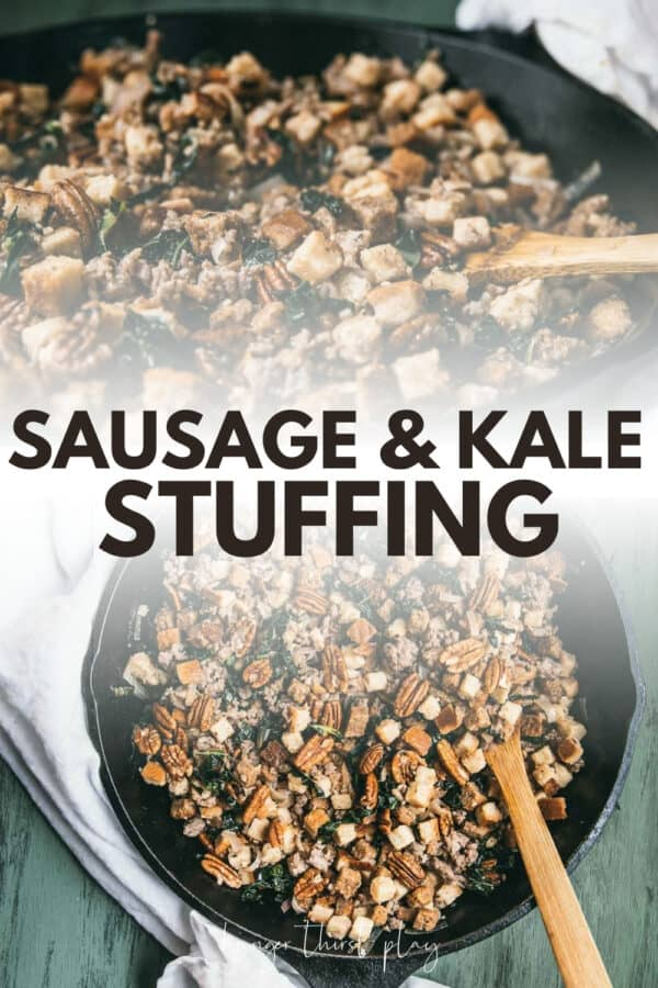 collage of sausage stuffing in a skillet