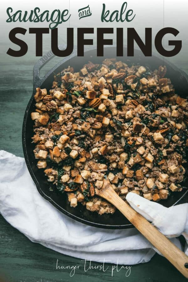 stuffing in a cast iron skillet with wooden spoon