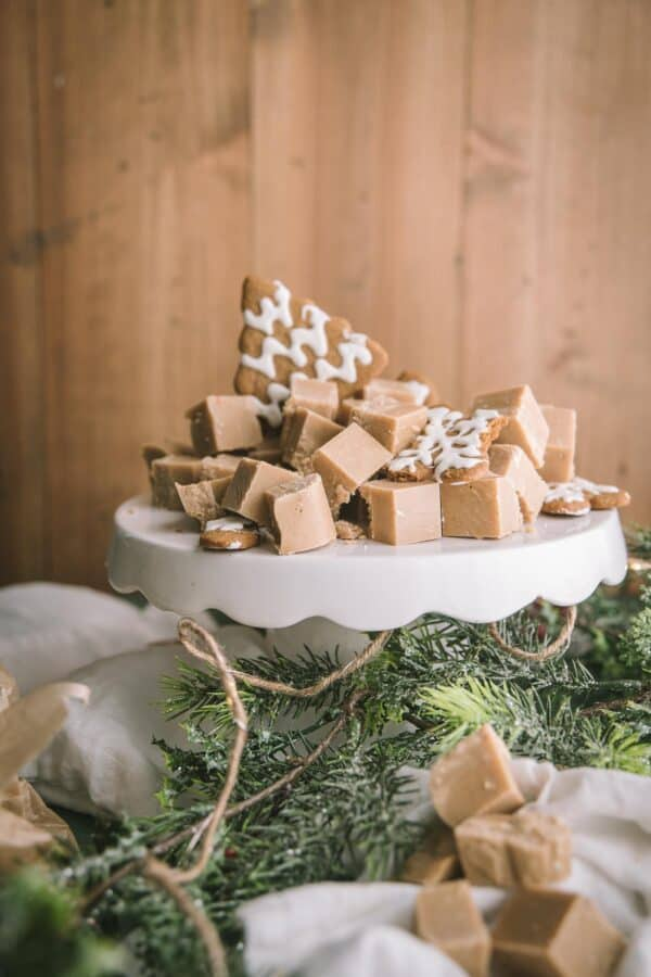gingerbread fudge cut in pieces on a white cake stand