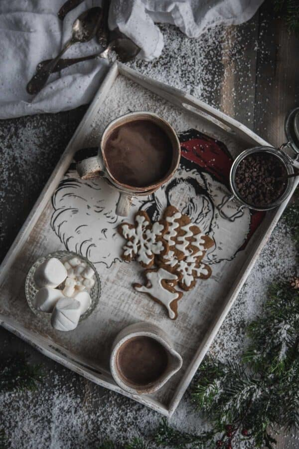 gingerbread hot chocolate on a tray