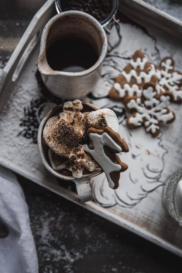 mug of hot chocolate topped with toasted marshmallows on a tray