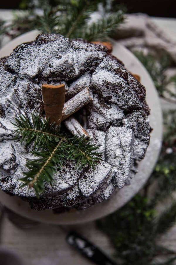 monkey bread dusted with confectioners sugar