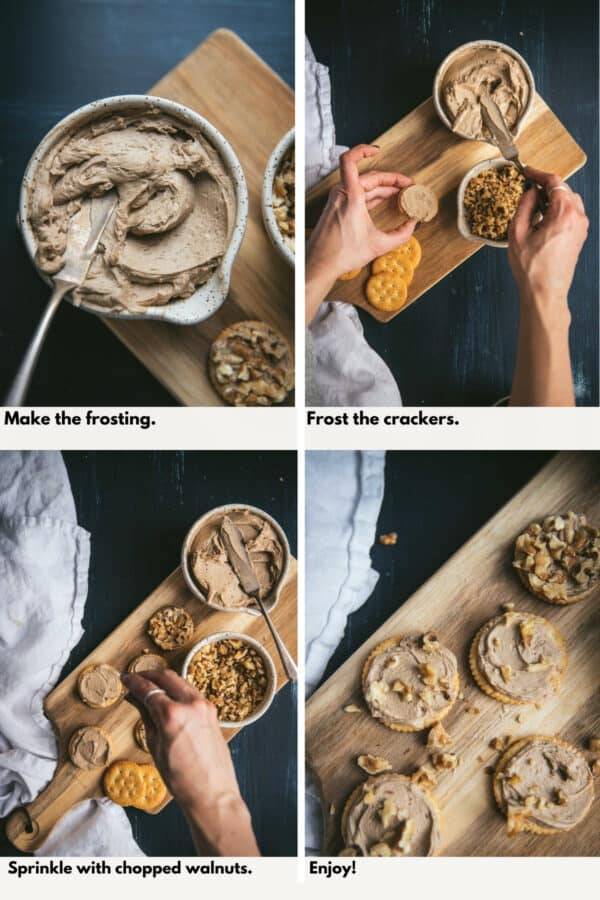 collage of process shots of how to make maple frosted Ritz Crackers