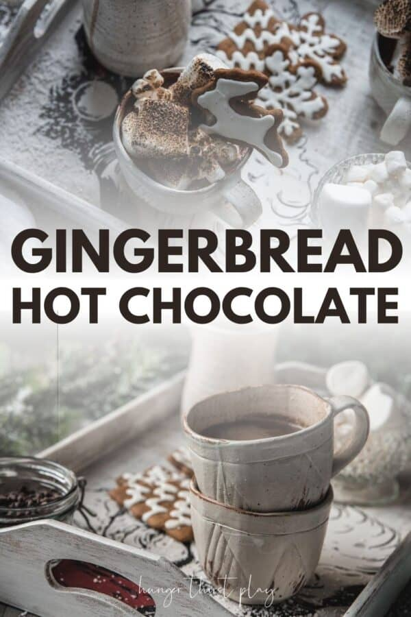 collage of gingerbread hot chocolate photos
