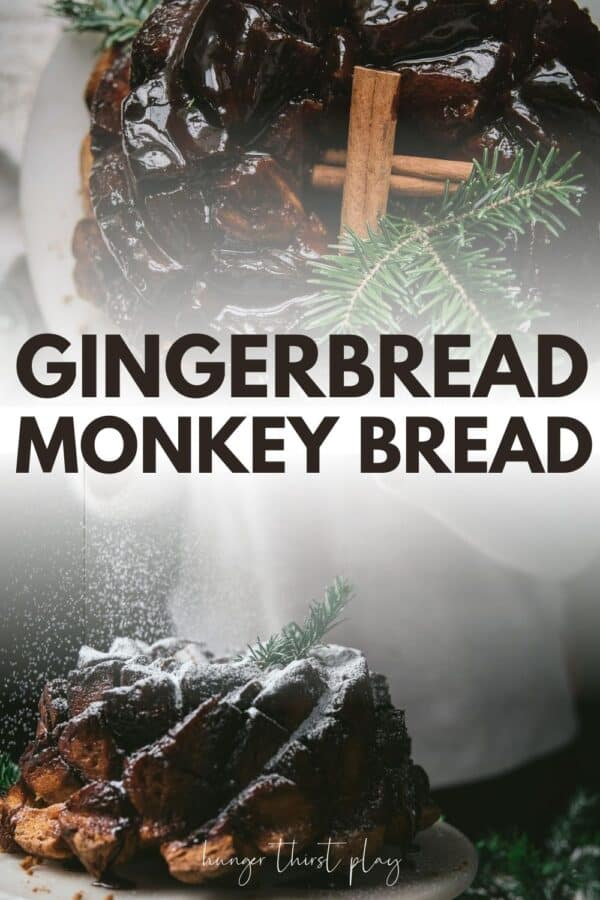 collage of gingerbread monkey bread
